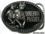 Doberman Pinscher Belt Buckle + display stand.Code BJ1